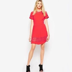 French Connection Red 'Arrow' Lace Pleated Dress